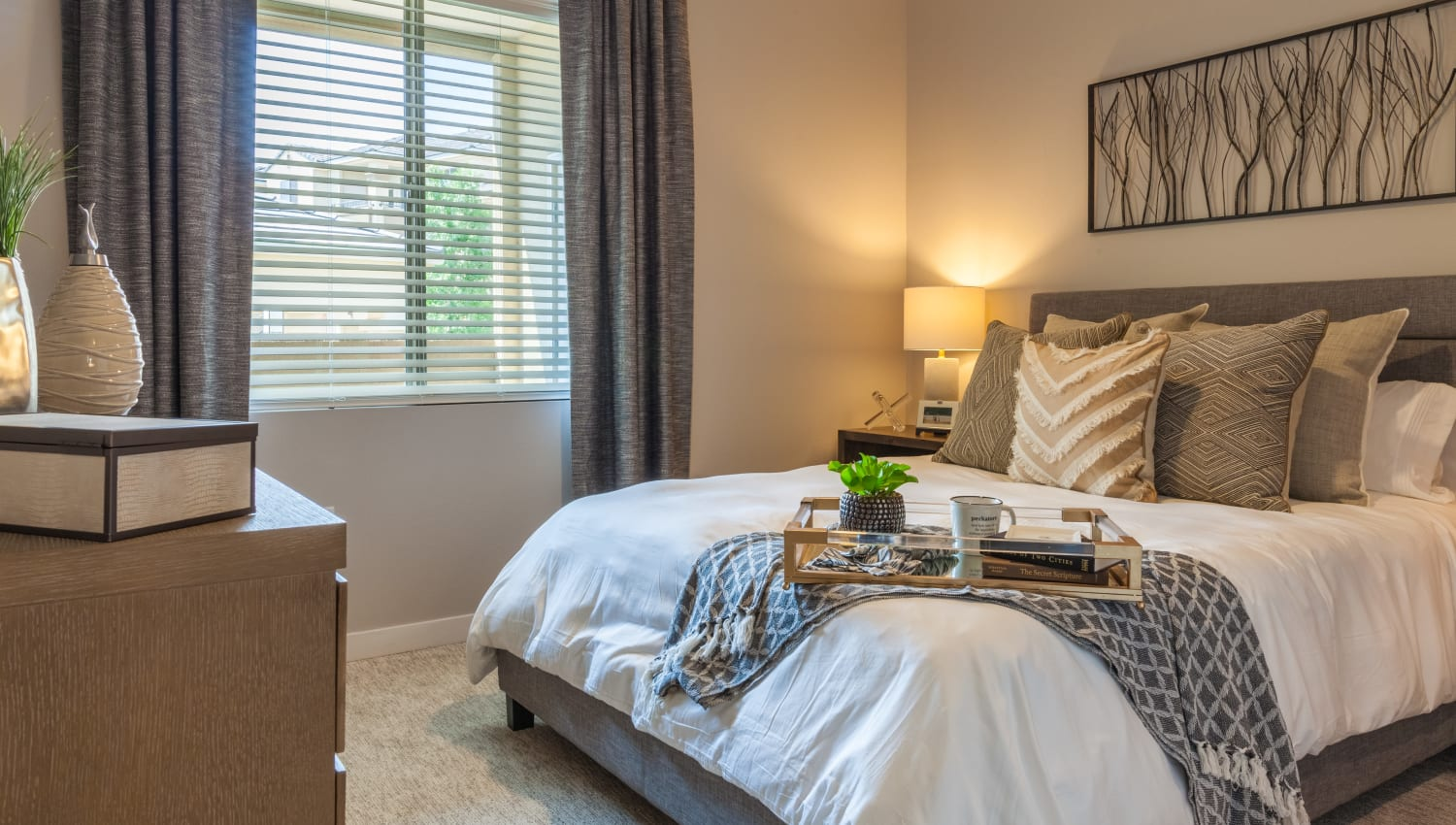 Large and comfortable bedroom at Olympus Alameda in Albuquerque, New Mexico