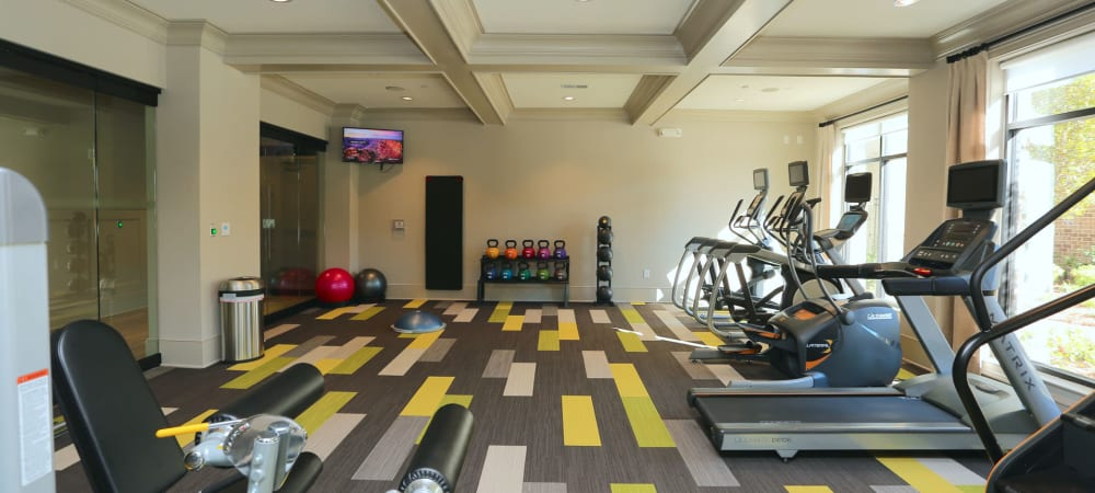 Full-sized treadmills and more cardio equipment in the fitness center at 2370 Main at Sugarloaf in Duluth, Georgia