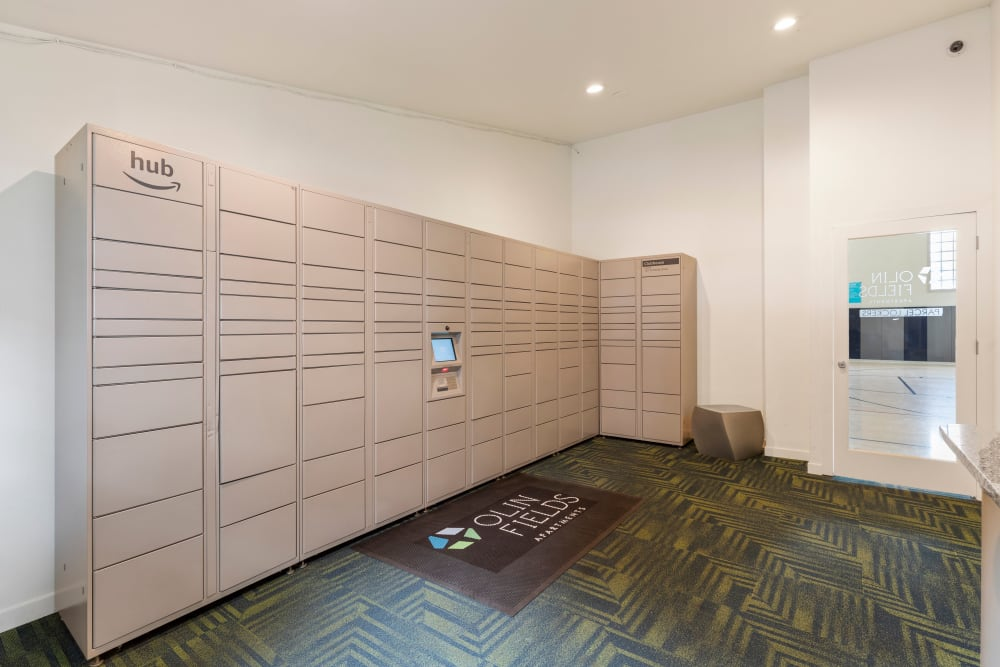 The convenient package room at Olin Fields Apartments in Everett, Washington