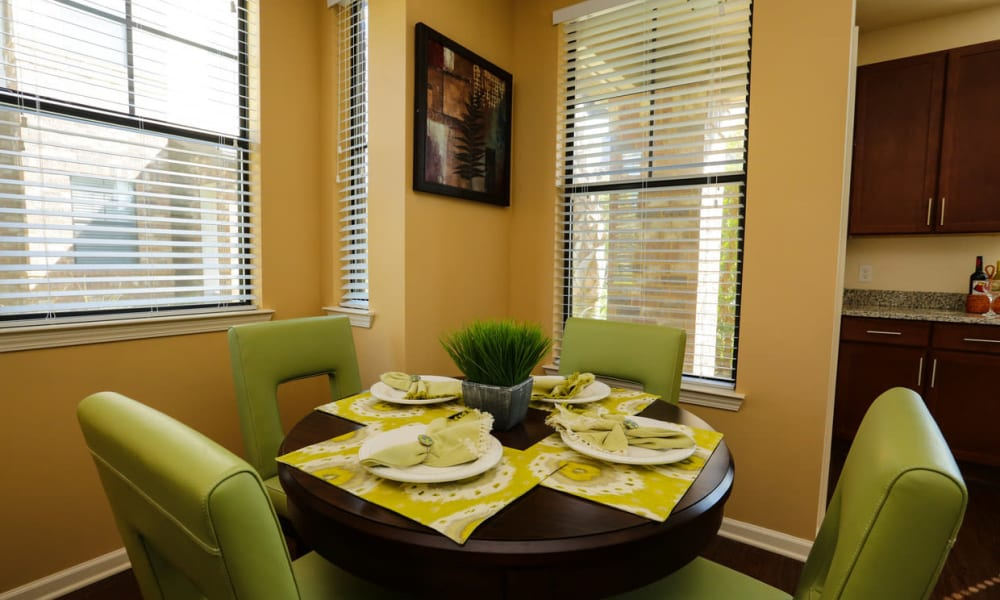 Dining area in a model home at The Hawthorne in Jacksonville, Florida