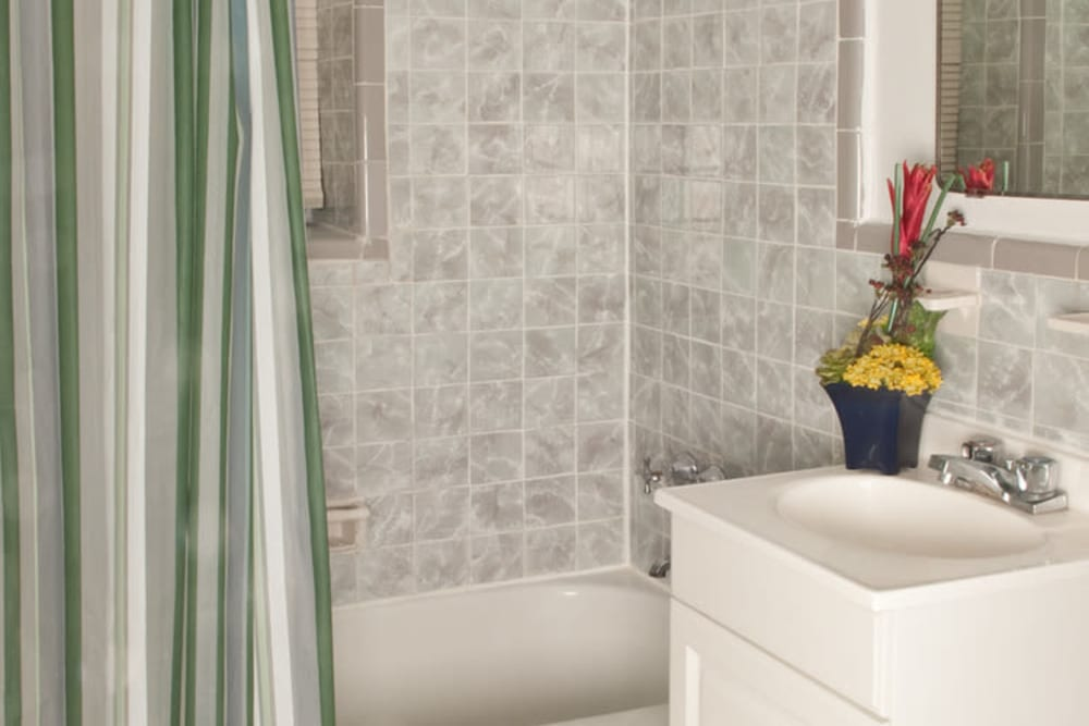 Bathroom model at King Alfred Apartments in Passaic, New Jersey