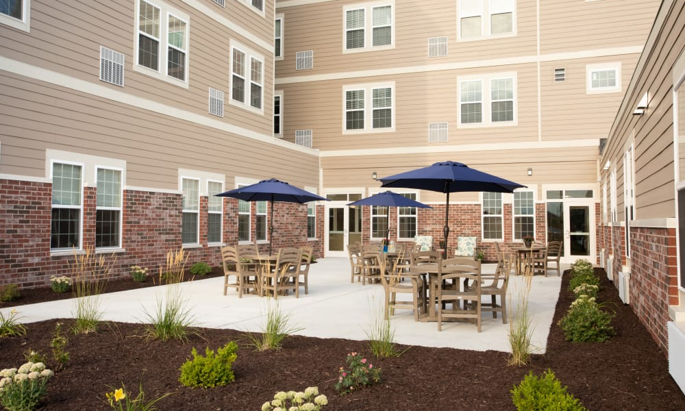Community courtyard in the center of Serenity in East Peoria, Illinois