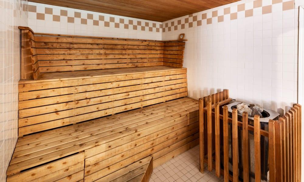 Magnificent sauna at Fraser Tolmie Apartments in Victoria, British Columbia