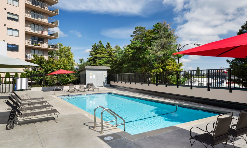 Gorgeous swimming pool at Panarama Tower in Burnaby, British Columbia