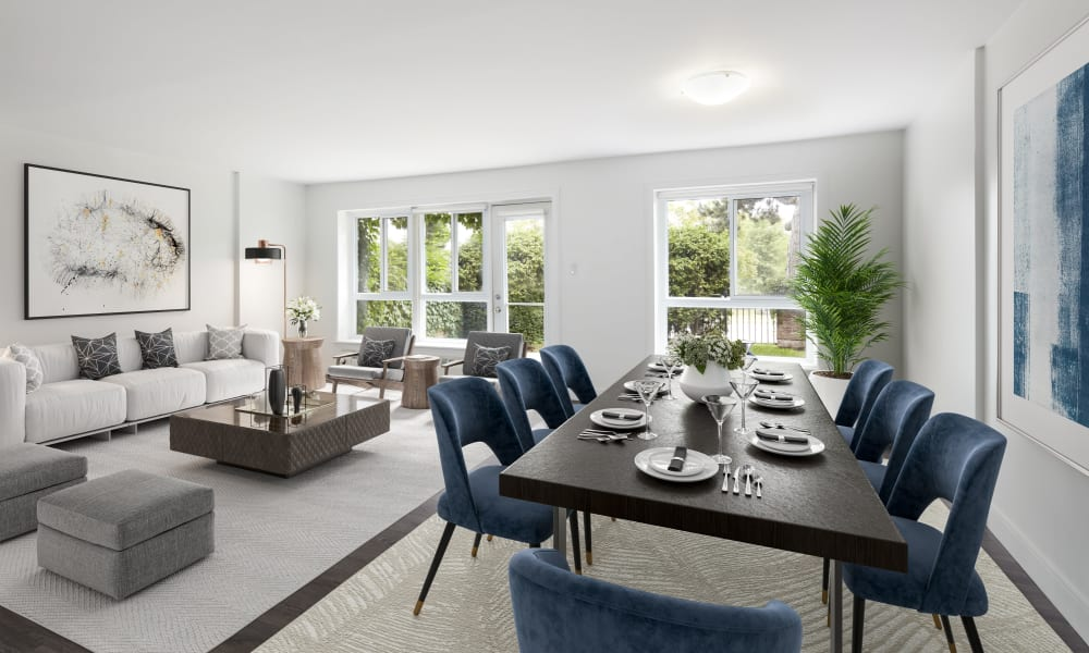 Naturally lit living room and dining room at Bayview Mews in North York, Ontario