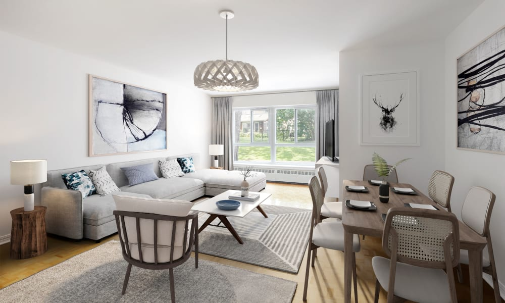 Model living room with unique art at Bayview Mews in North York, Ontario