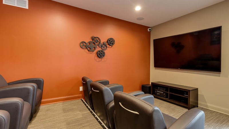 Mini theater at The Trilogy Apartments in Belleville