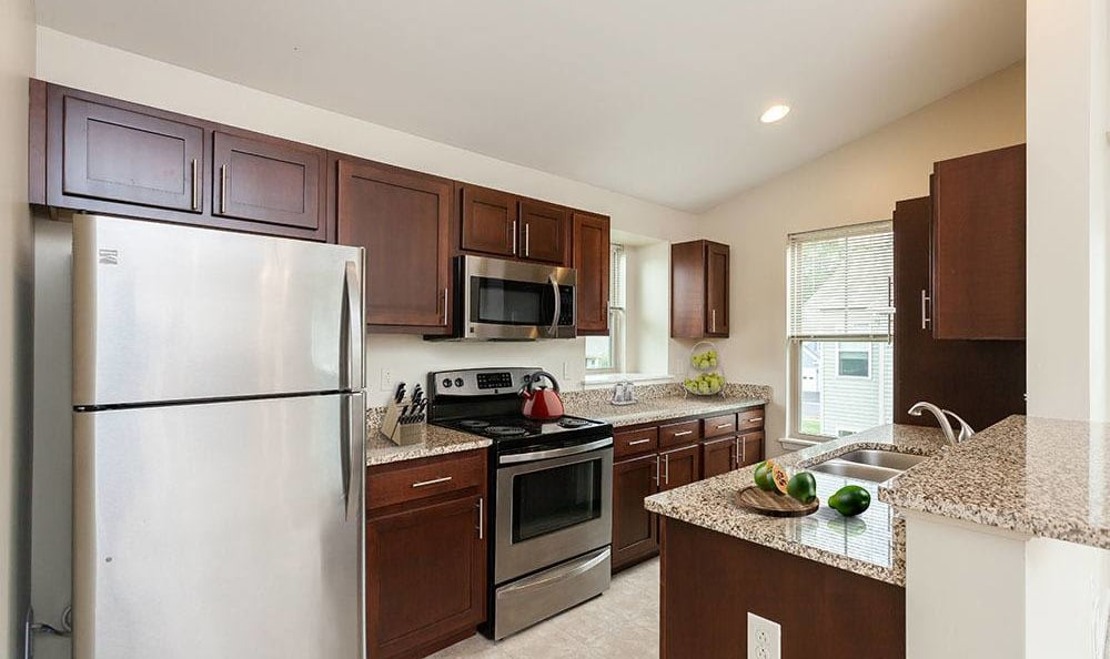 Fully-equipped kitchen at Saratoga Crossing home