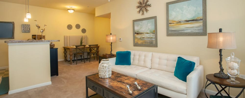 Well decorated living room in model home at Panther Effingham Parc Apartments in Rincon, Georgia
