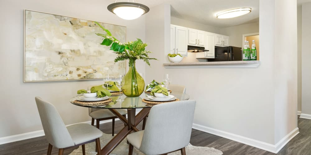Breakfast nook in model home ready for a meal to be ate here at Belle Vista Apartment Homes in Lithonia, Georgia