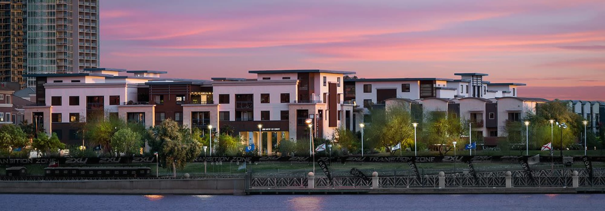Apartment complex shot at dusk at Lakeside Drive Apartments in Tempe, Arizona