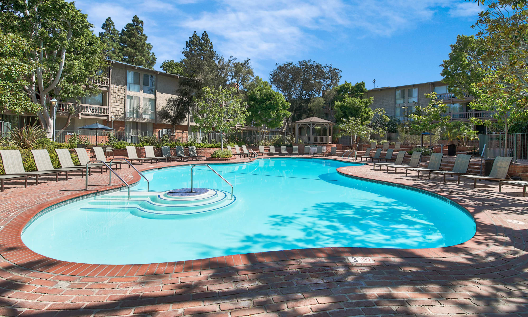 Large resort-style swimming pool at The Meadows in Culver City, California