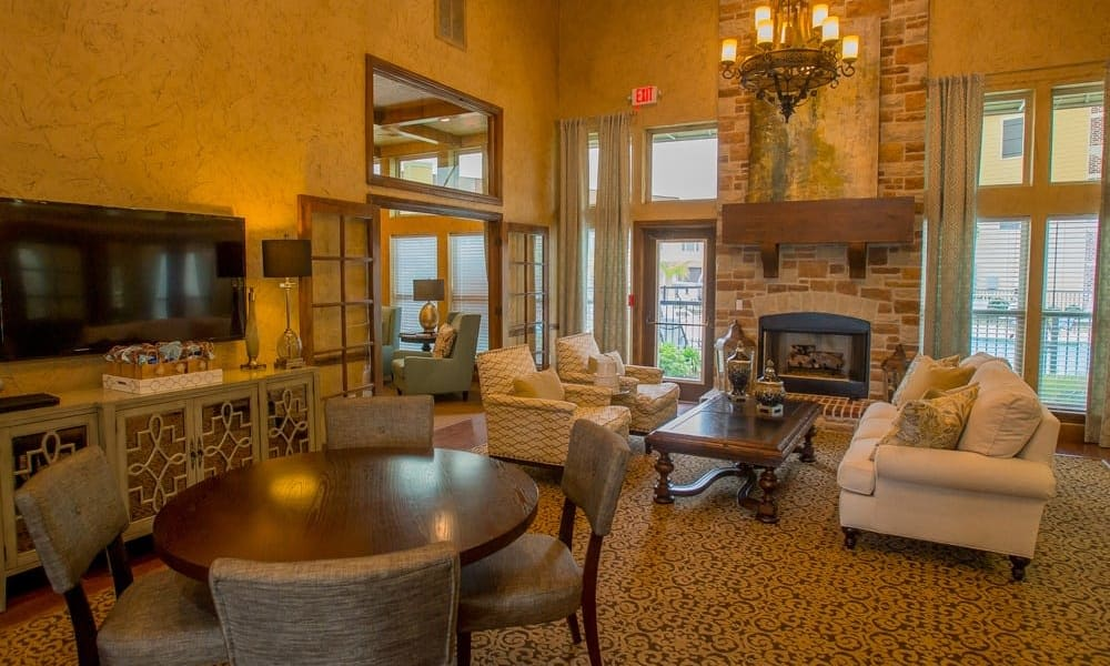 Clubhouse with vaulted ceilings at Tuscana Bay Apartments in Corpus Christi, Texas