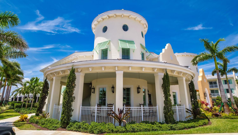 Exterior with large veranda at Town Lantana in Lantana, Florida