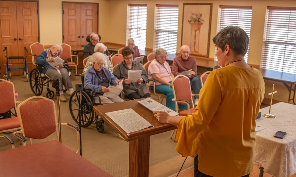 Residents in the chapel at Deer Crest Senior Living in Red Wing, Deer Crest Senior Living
