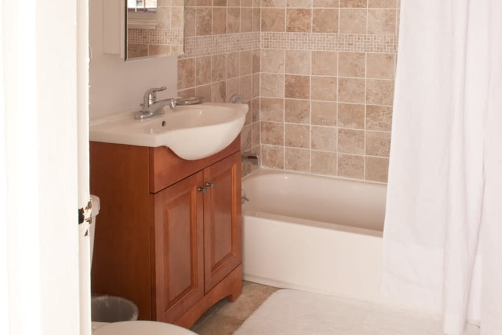 Bathroom model at Lafayette Park Apartments in Hawthorne, New Jersey