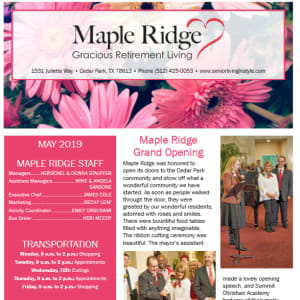 May Maple Ridge Gracious Retirement Living newsletter