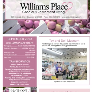 September Williams Place Gracious Retirement Living Newsletter