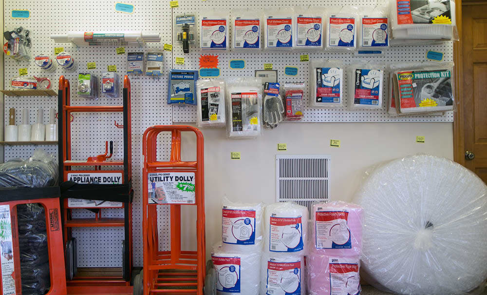Packing supplies at Williamsburg Storage in Williamsburg, Virginia