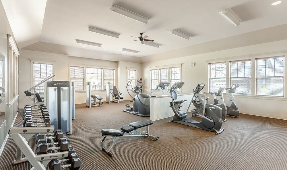 Fitness center at apartments in Farmington, New York