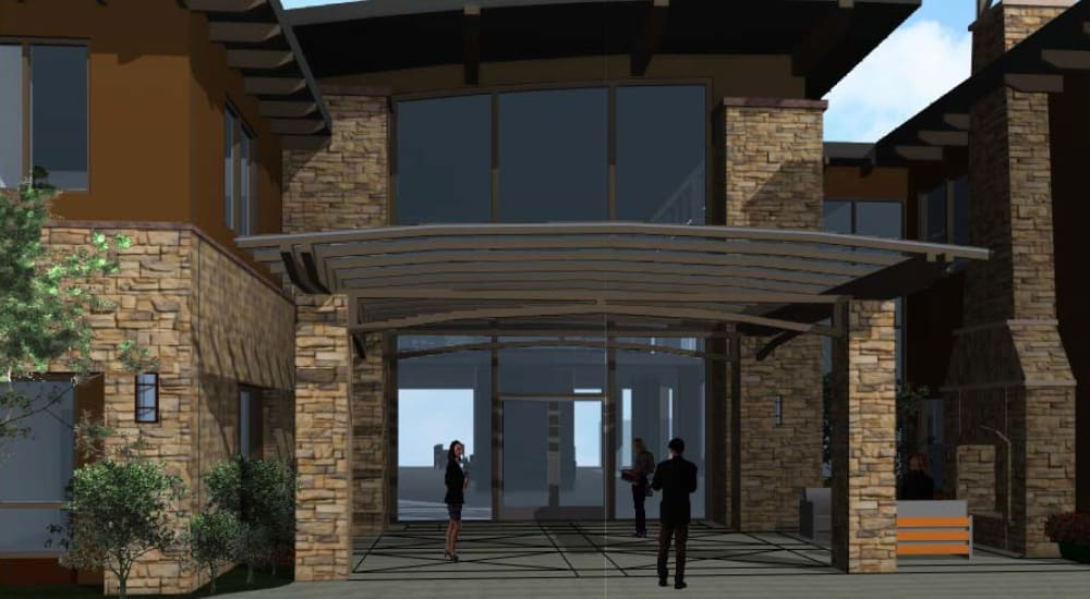 The front entrance at Carefield Living Monarch Dunes in Nipomo, California.
