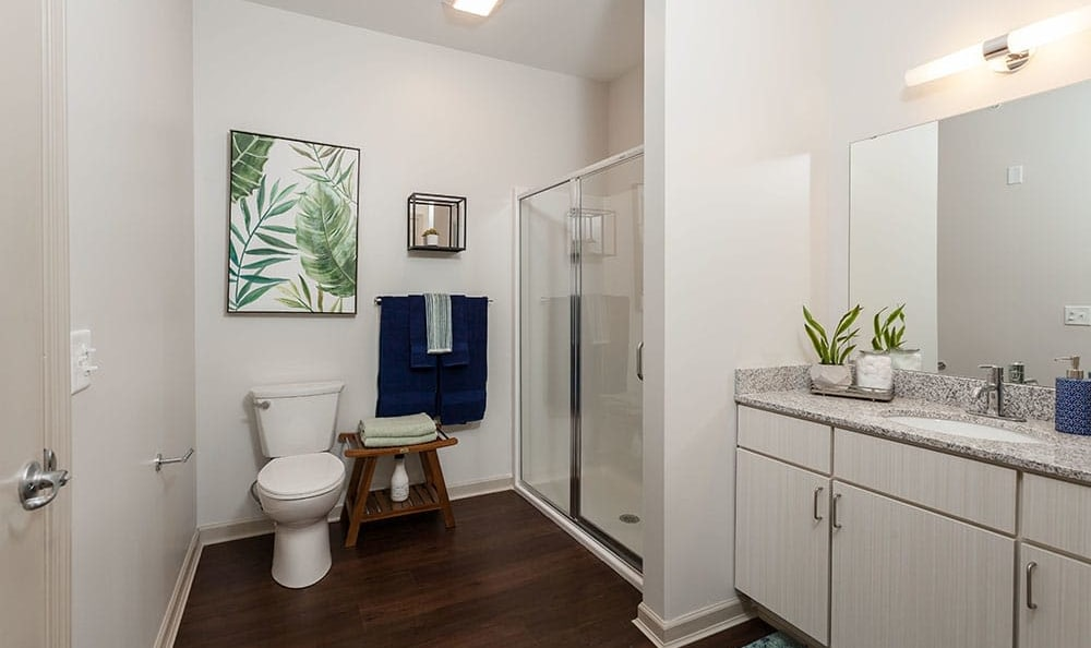 Village Heights Senior Apartments offers a spacious bathroom in Fairport, NY