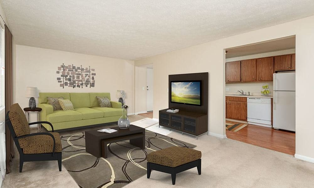 Spacious living room at Willowbrooke Apartments and Townhomes in Brockport, NY