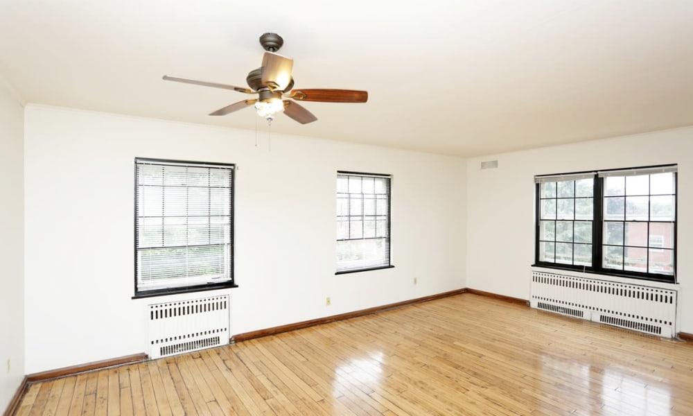 Hardwood floors in living room in Des Moines, Iowa at Windsor Terrace