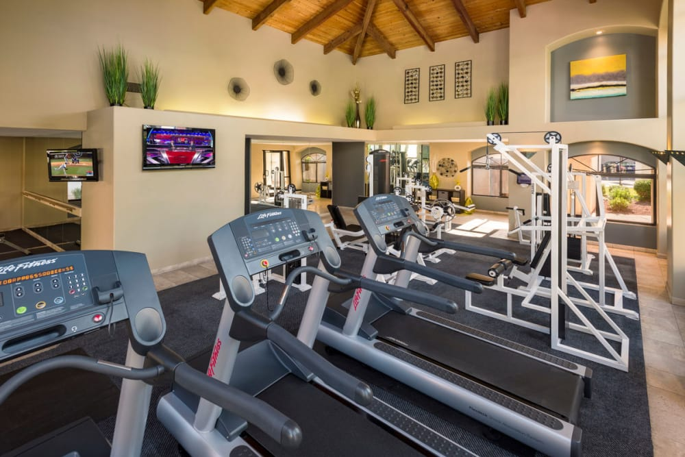 A fully equipped gym at San Marin at the Civic Center in Scottsdale, Arizona