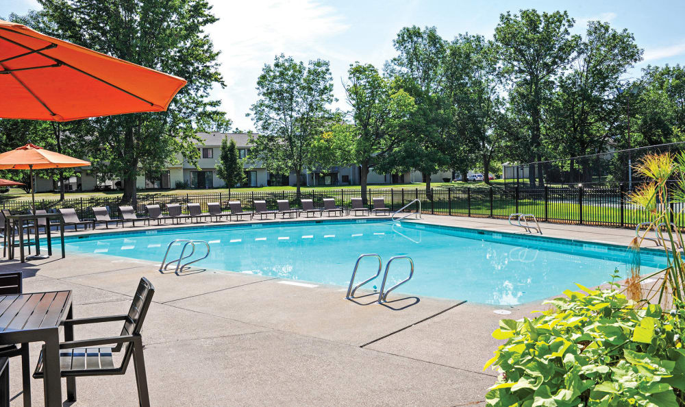 Sparkling swimming pool at Penbrooke Meadows Apartments in Penfield, NY