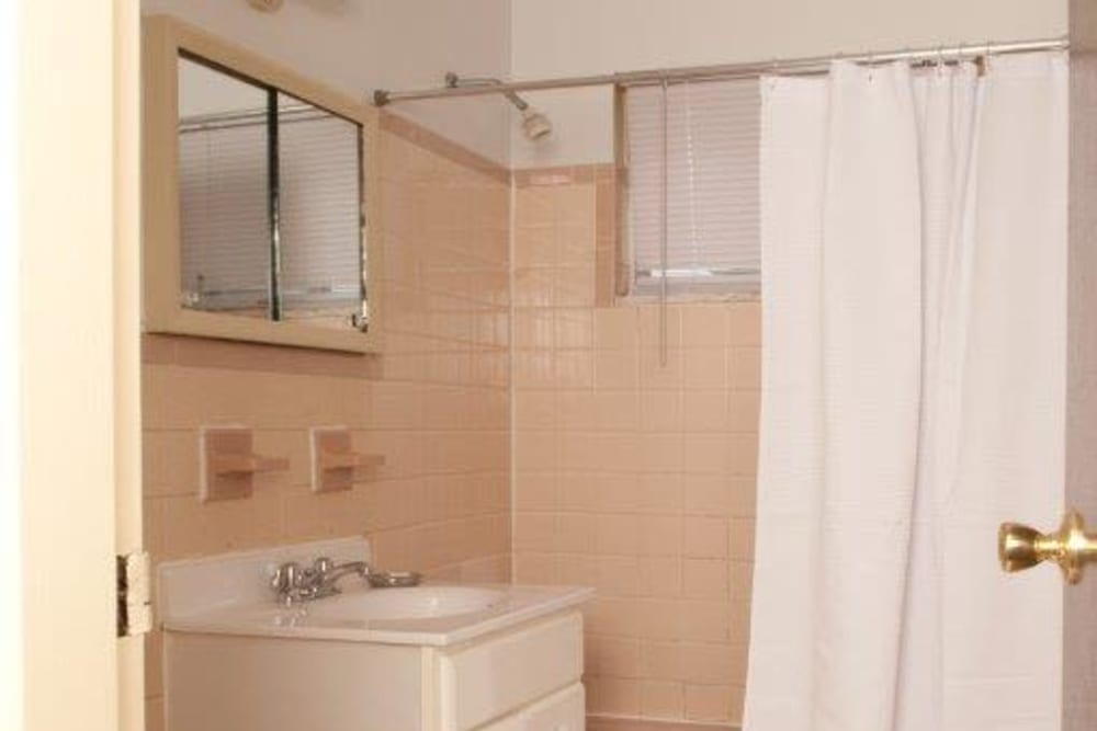 Bathroom layout at Lynn York Apartments in Irvington, New Jersey