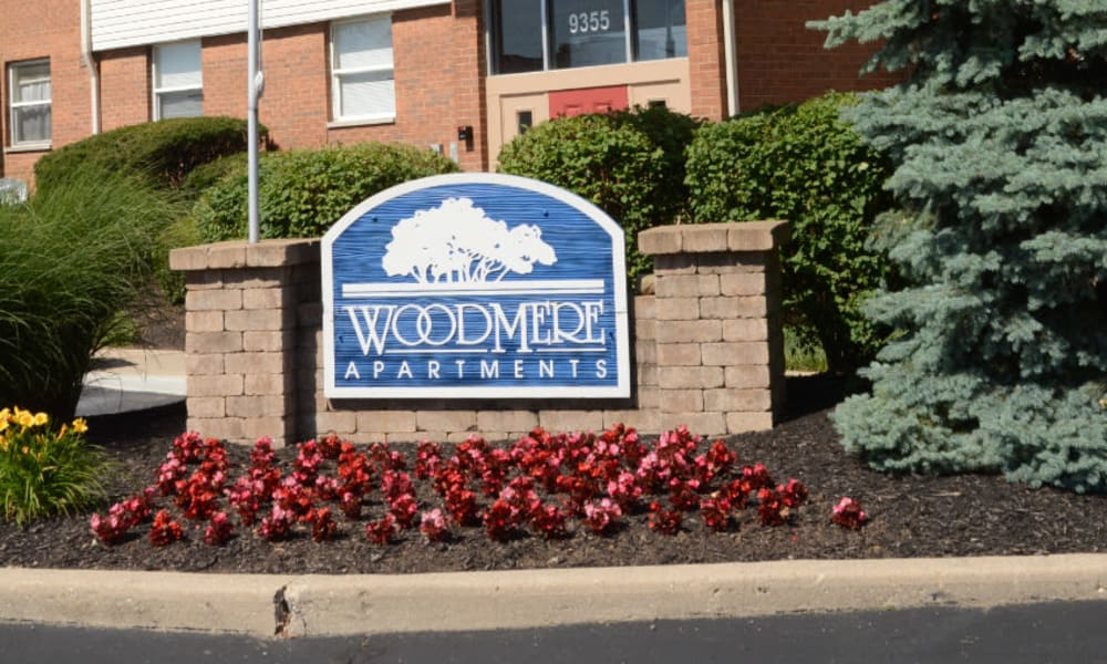 The front entrance sign at Woodmere Apartments in Cincinnati, Ohio