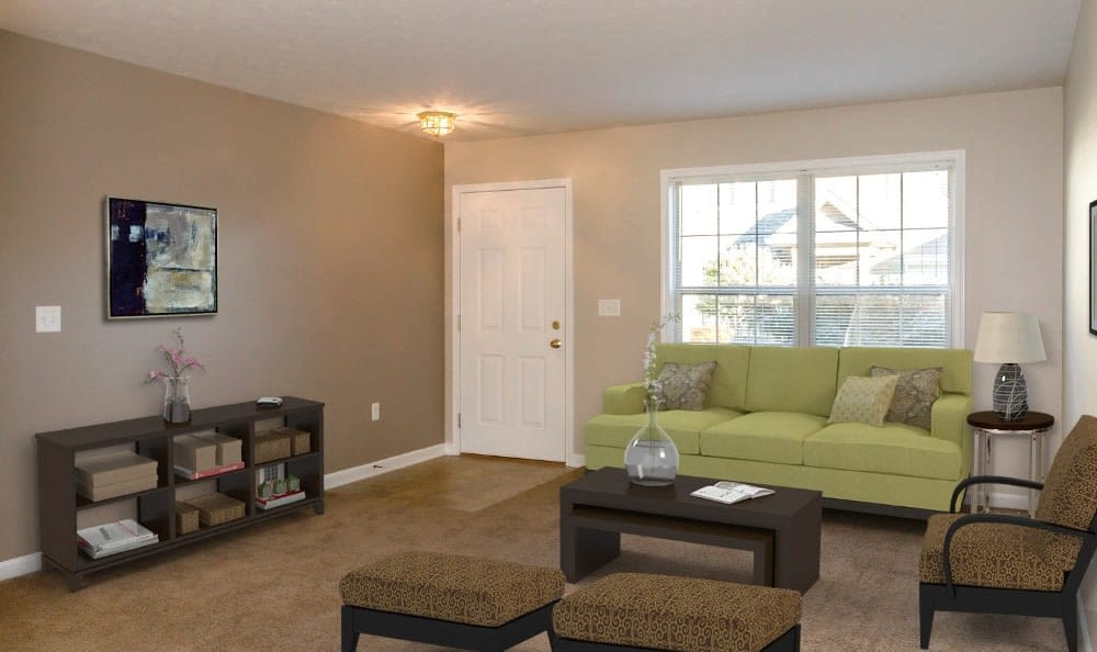 Beautifully designed living room at North Ponds Apartments in Webster