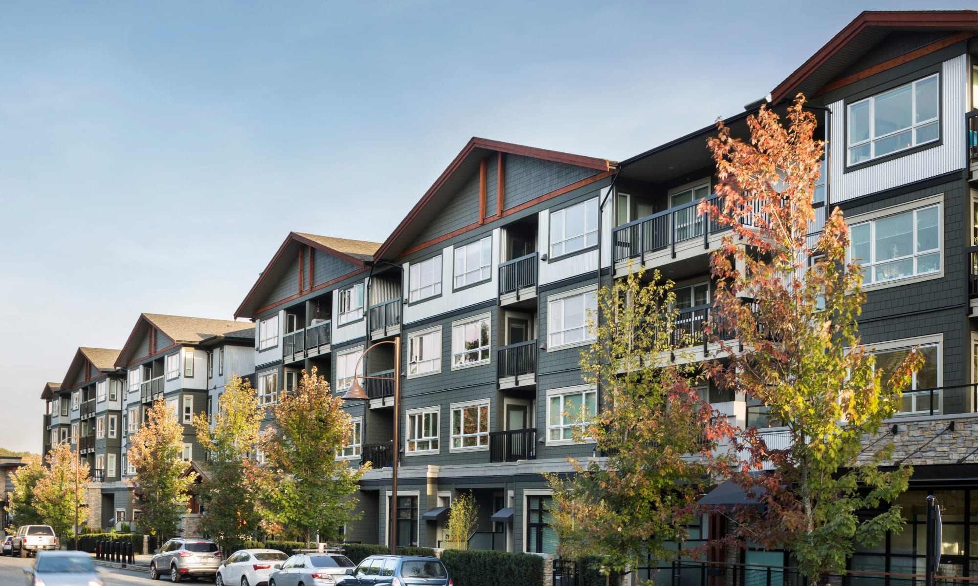 Exterior shot of Northwoods Village in North Vancouver, British Columbia