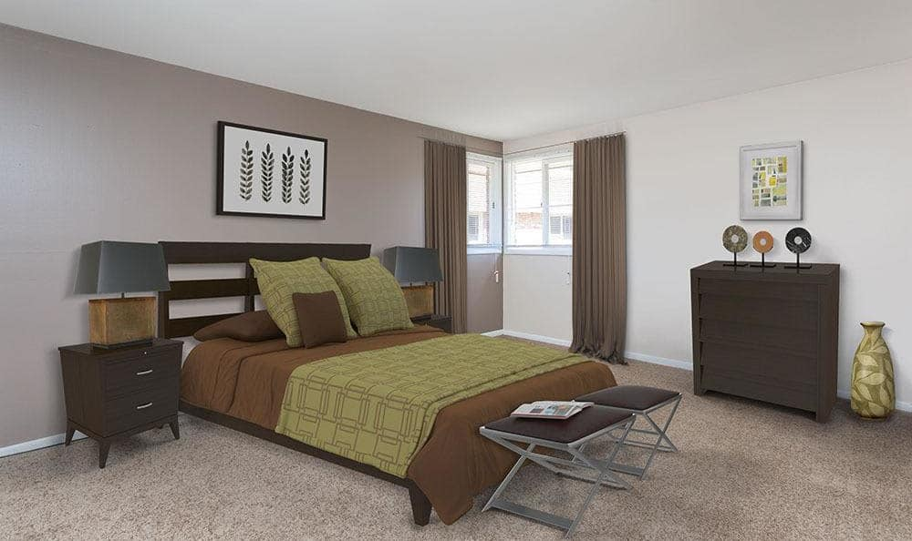 Beautifully designed bedroom at Raintree Island Apartments in Tonawanda, NY