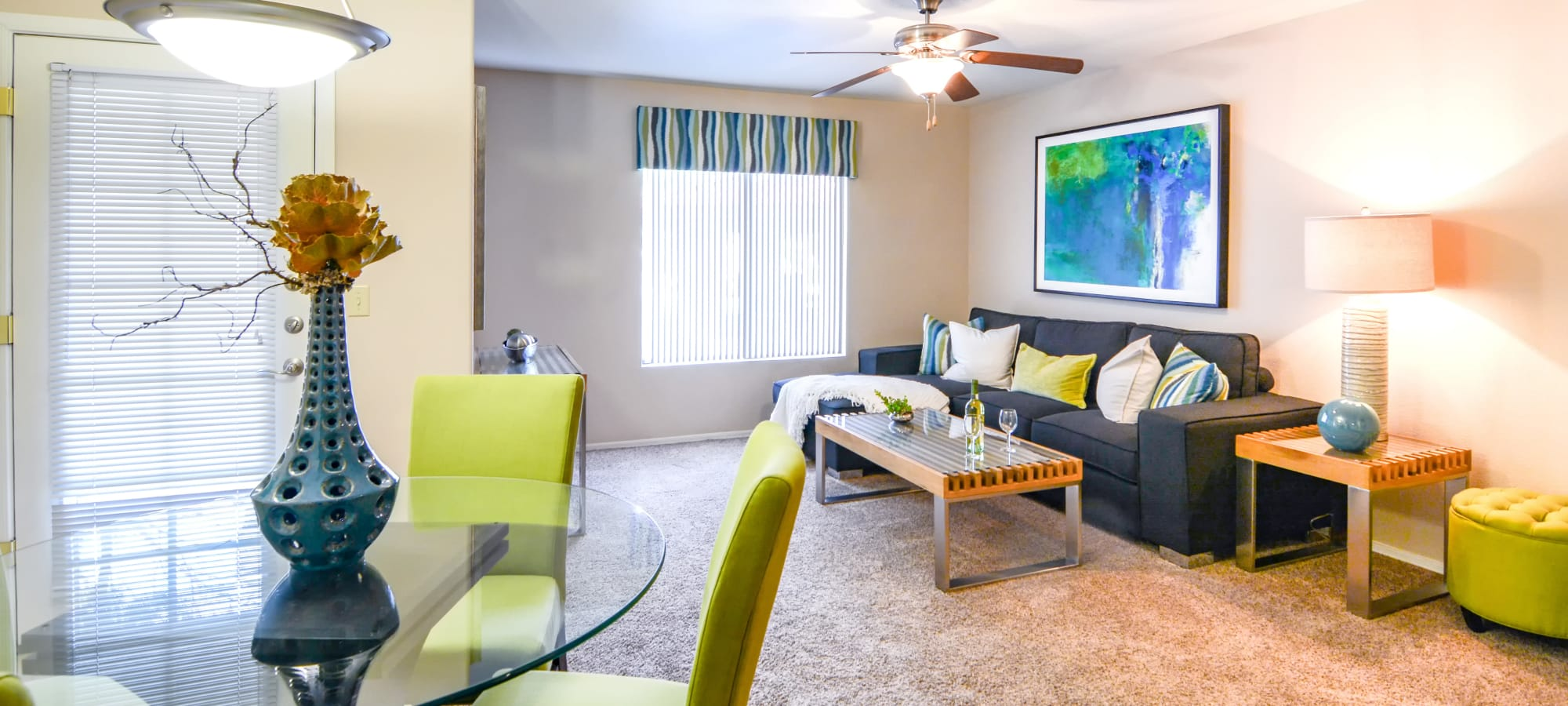 Bright living room at The Palms on Scottsdale in Tempe, Arizona