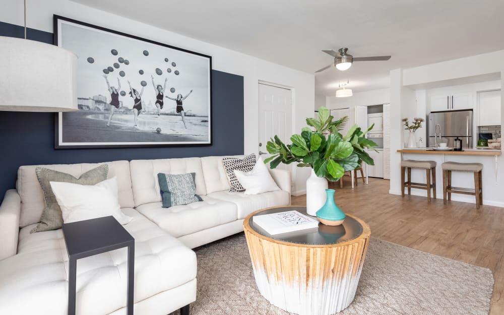 Open-concept floor plan in model home at Cielo Boca in Boca Raton, Florida