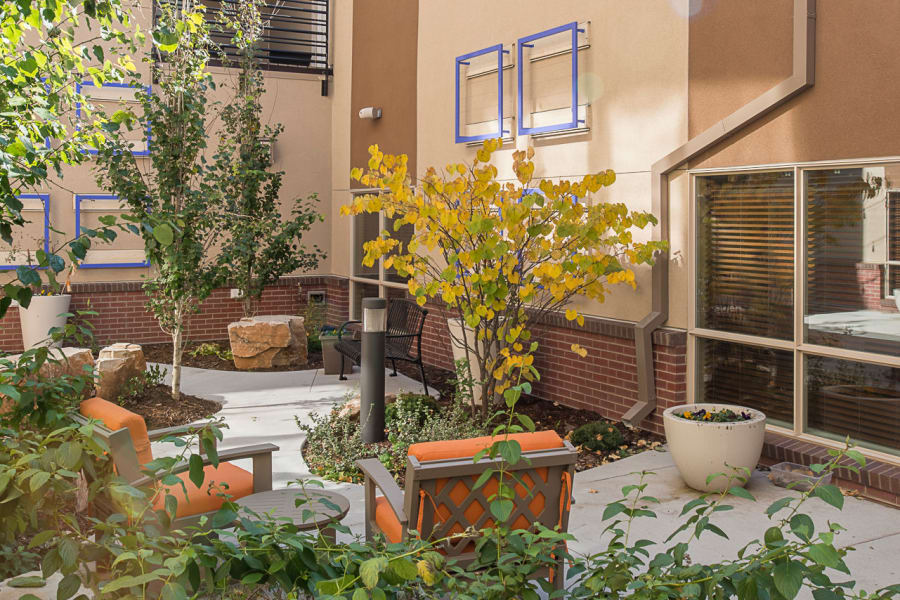 Our memory care atrium garden at Village at Belmar