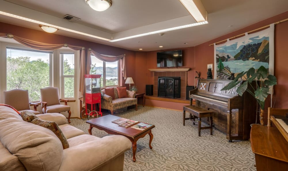 The fireplace room at Heritage Heights