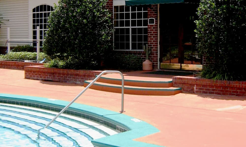 Swimming pool steps at Polos on Park in Tallahassee, Florida