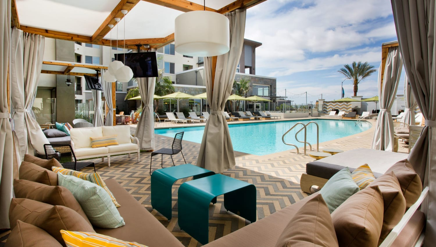 Private cabanas with TV's at Olympus Corsair in San Diego, California
