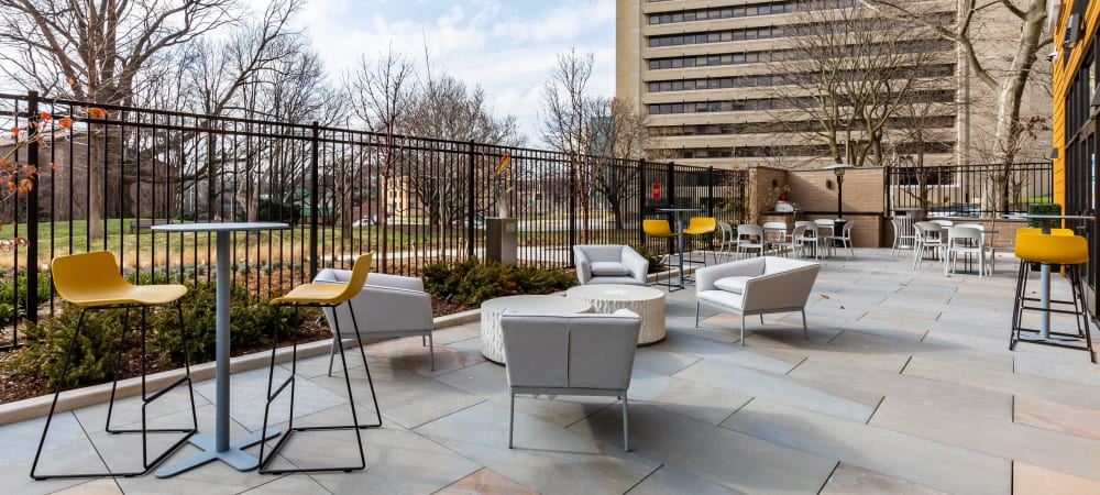 Large outdoor seating area at Main Street Apartments in Rockville, Maryland