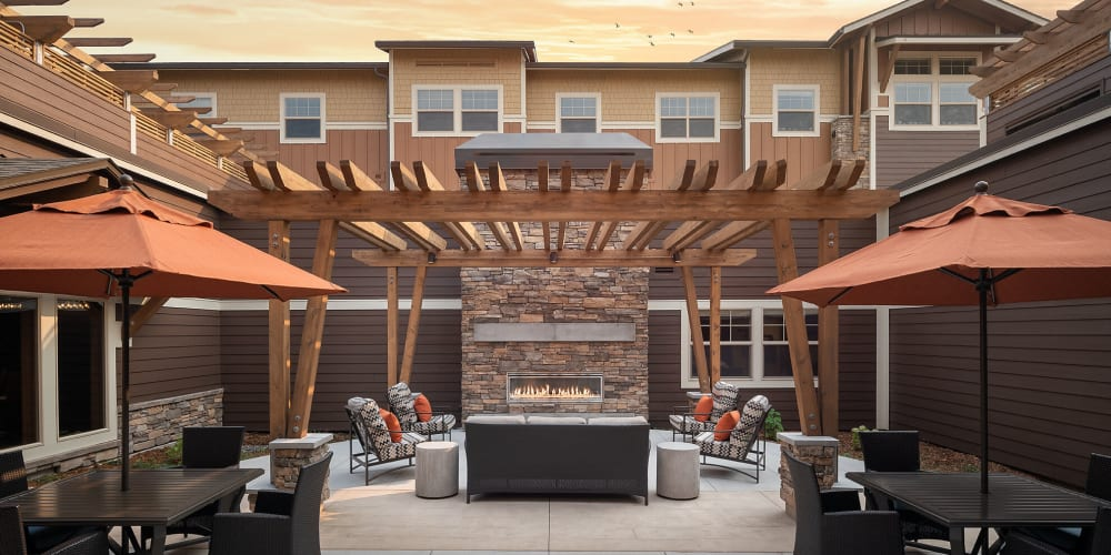 Sunset outdoor patio at The Springs at Bozeman in Bozeman, Montana