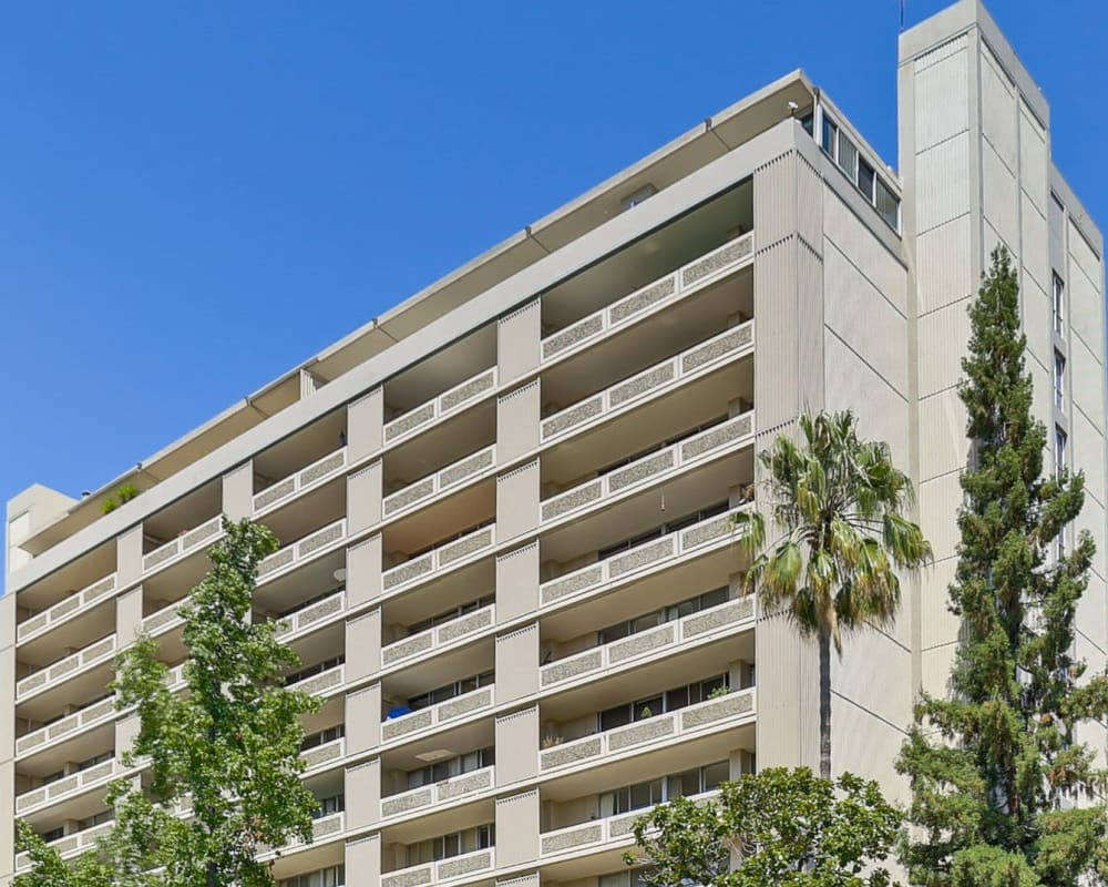 Exterior of high-rise apartments at The Marc, Palo Alto in Palo Alto, California