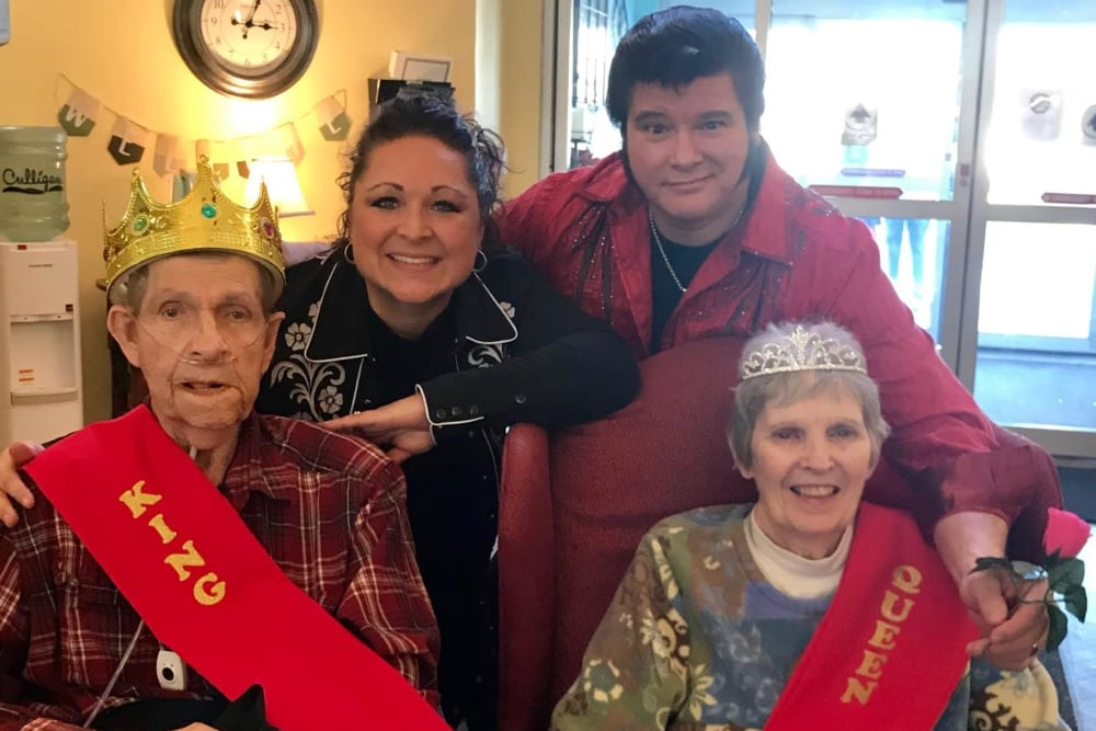 Residents dressed up as a king and queen at Brookstone of Aledo in Aledo, Illinois