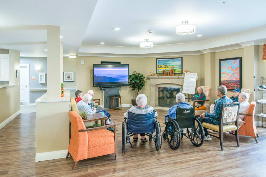 The memory care great room at Monarch House at Village at Belmar