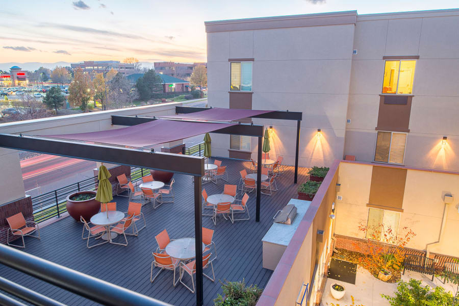Outdoor patio for dining at Village at Belmar