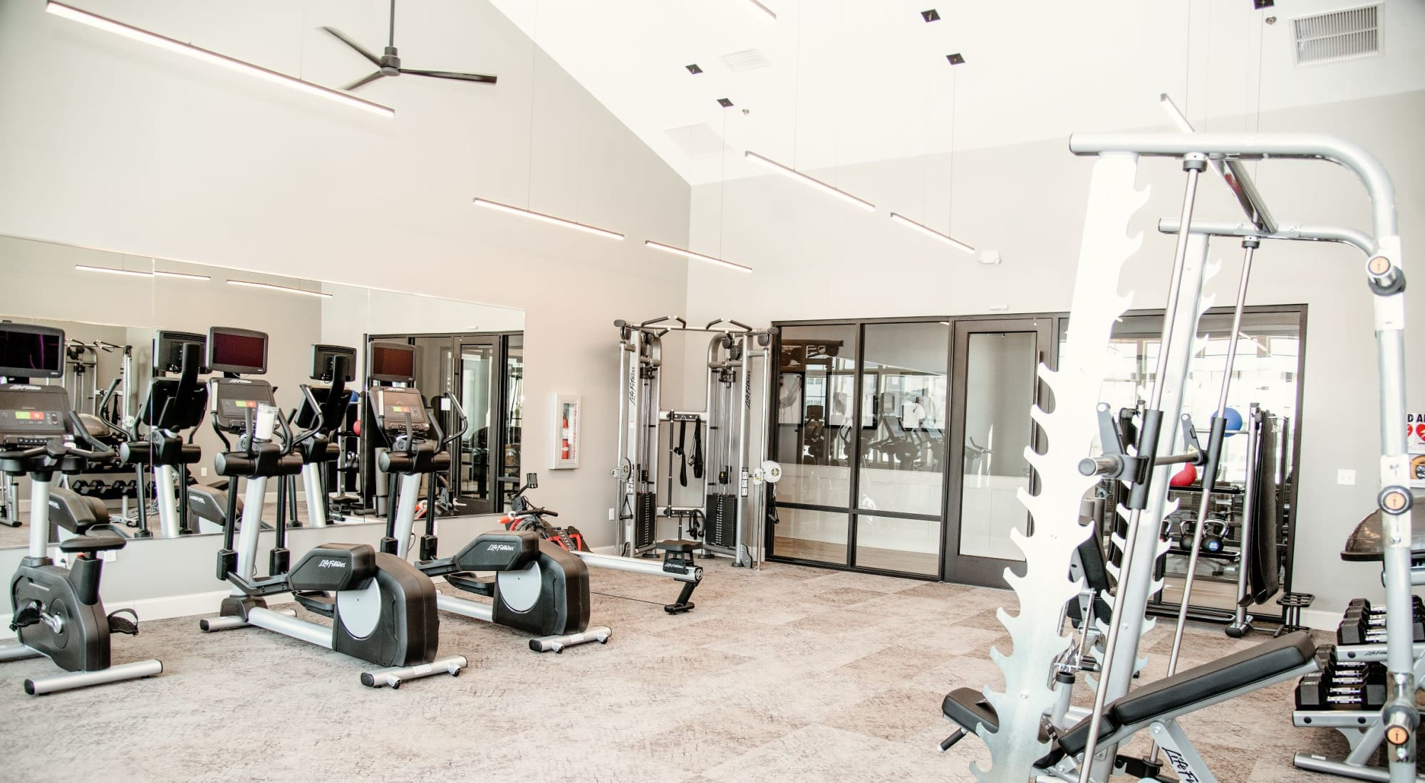 world class gym at The 450 in Lombard, IL