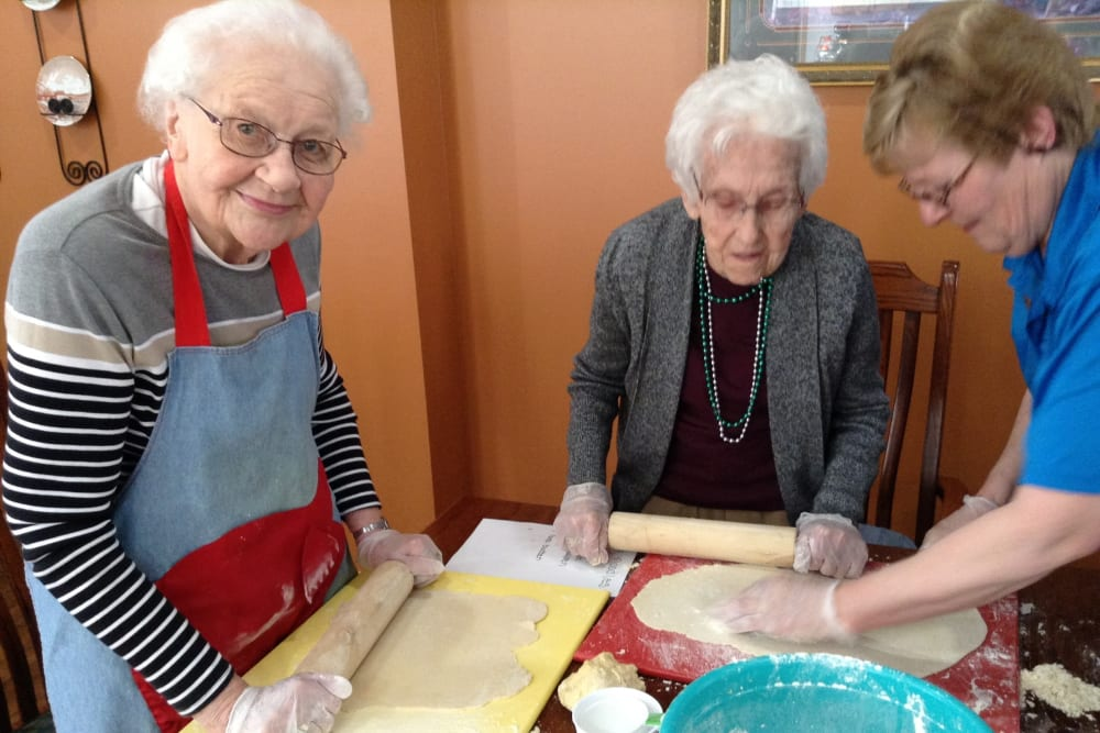 Residents preparing to bake at Clover Ridge Place in Maquoketa, Iowa.