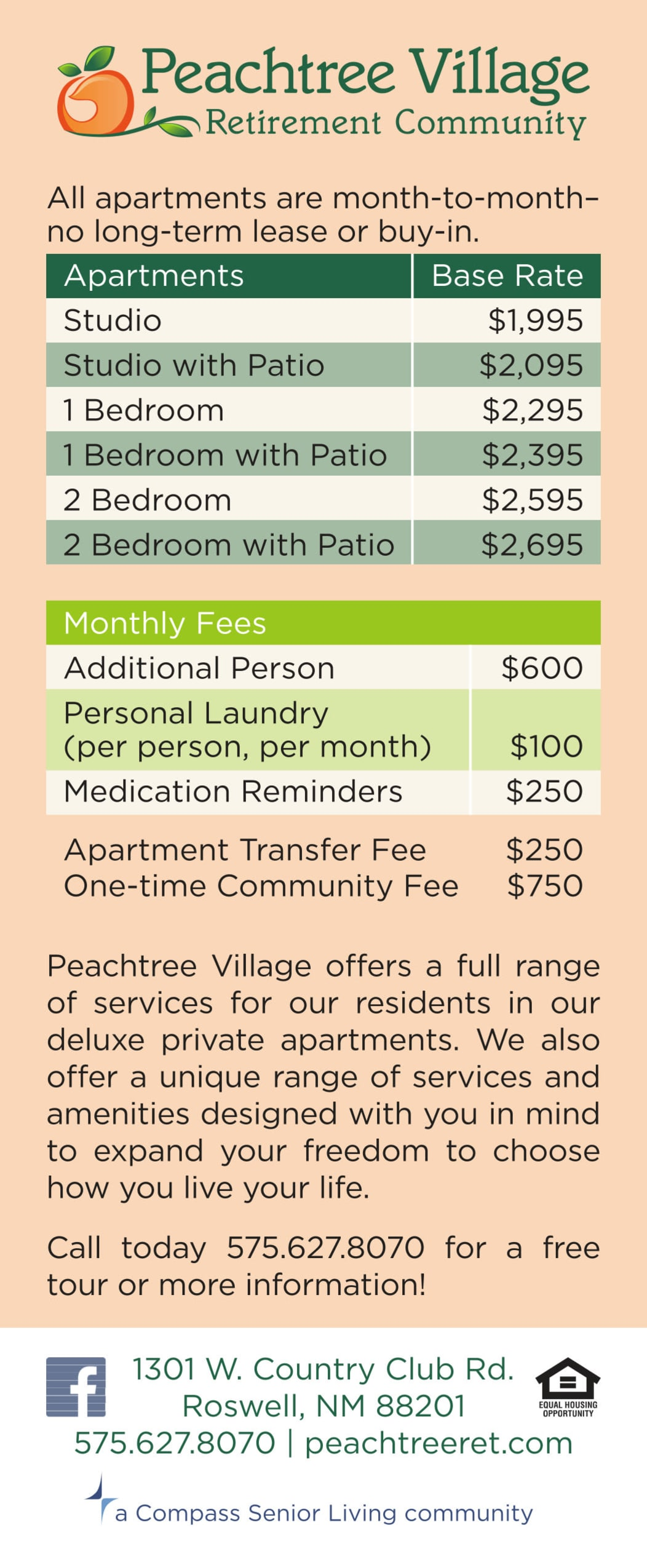 Rates at Peachtree Village Retirement Community